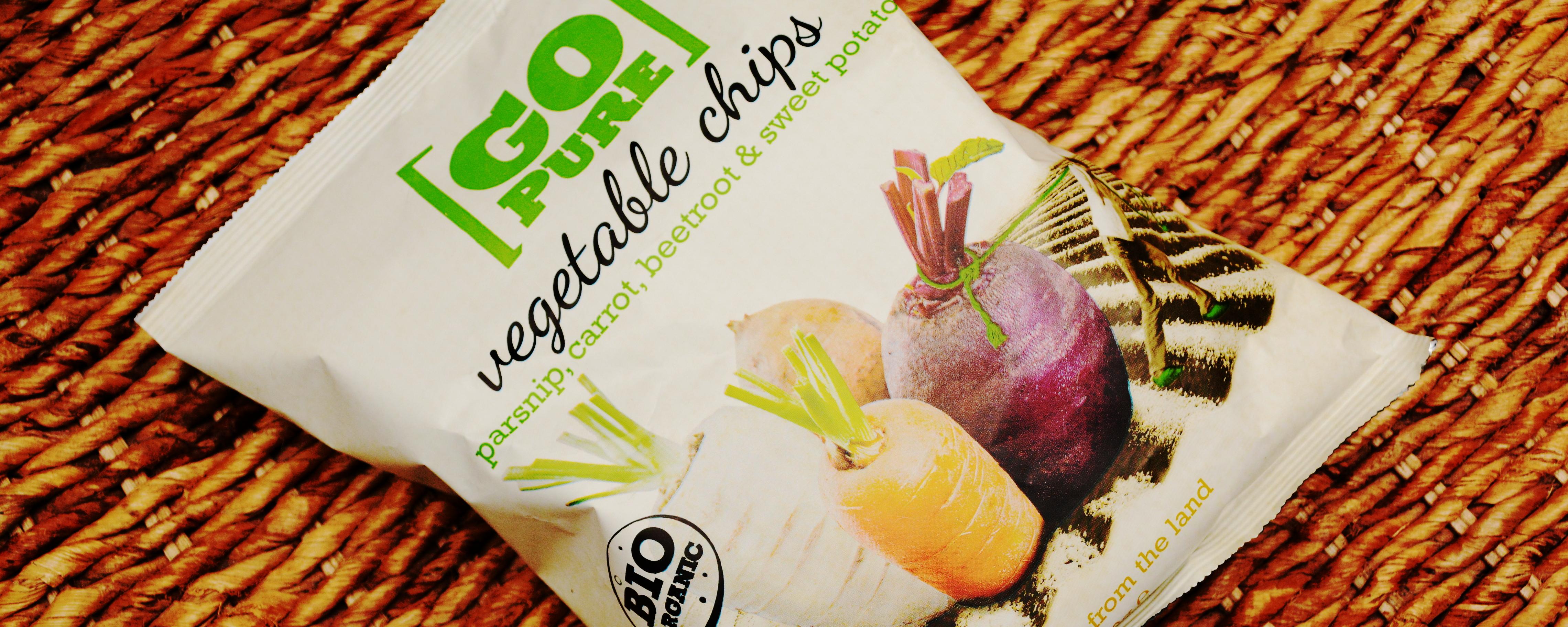 So sieht die Verpackung der Go-Pure-Gemüse-Chips aus.