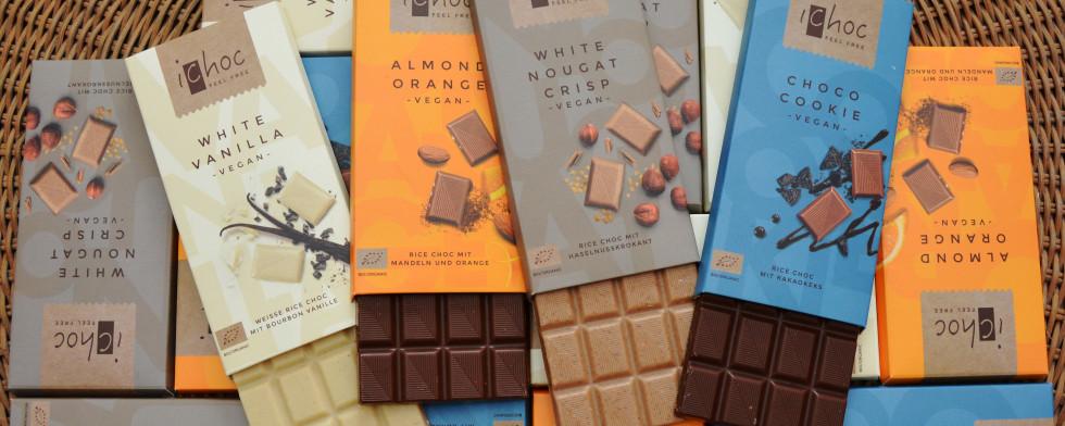 Alle vier Sorten iChoc auf einen Blick: White Vanilla, Allmond Orange, White Nougat Crisp und Choco Cookie