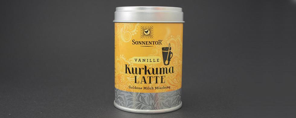 Auffällig gelb wie auch das Getränk: die Instant-Mischung von Sonnentor zum Trendgetränk Kurkuma-Latte.