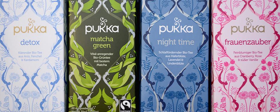 Hier seht ihr die Pukka-Sorten Detox, Green Matcha, Nighttime und Frauenzauber.