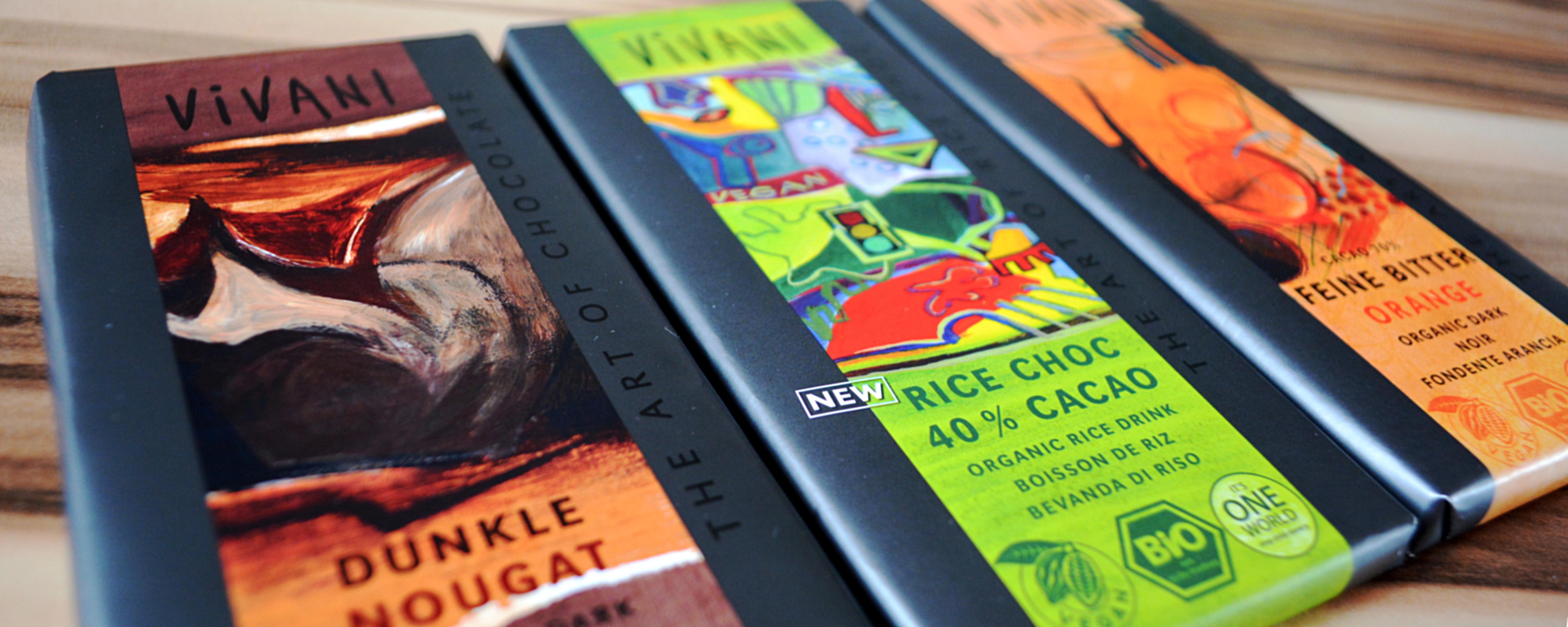 Vegane Schokolade von Vivani: von links nach rechts seht ihr die Sorten